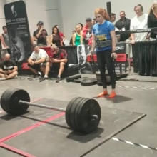 Final event of the day. 325 lb axle bar deadlift for 8 reps. First show as a PRO and @jess_theaker took 4th out of 9 in one of the world's most prestigious competitions- Strongest Woman in the World Olympia 2017. Just 3 short years ago we decided to chase