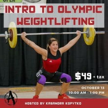 Have you ever wanted to try olympic lifting? Well, here's your chance! Join us October 13th for a class with KaSandra Kopytko to learn the fundamentals of olympic weightlifting. No experience necessary! Link to register in the bio! 👆 ⠀ .⠀ .⠀ .⠀