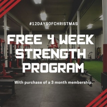 On the second day of #Liftmas Adrenaline gives to you a FREE 4 week strength and conditioning program with the purchase of a 3 month membership.  Offer valid for new members today only.  Come down to 1301 Osler St between 12pm - 8pm to sign up or DM us fo