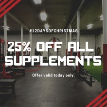 It's the 11th day of #Liftmas and Adrenaline gives to you 25% off all supplements.  Today only from 12:30 - 8:00 PM  Nothing like a tub of protein powder to make that perfect stocking stuffer.🤔 . . . #adrenalinefamily #teamadrenaline #yqrfit #yqrfitnes