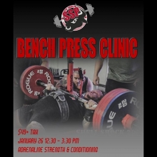 Bench Press Clinic 12:30PM - 3:30PM Jan 26, 2019. $49.00 plus gst.  All skill levels welcome, raw and equipped benchpress.  We will cover topics such as: GPC competition rules, mechanics of the benchpress, proper form and technique, training and programmi